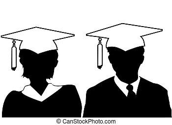bata, mujer, silueta, y, gorra, graduado, graduados, hombre