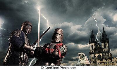 batalla, caballeros, medieval