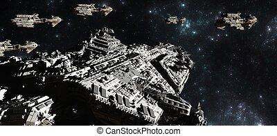 batalla, flota, espacio, despliegue