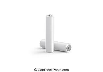 Batería blanca en blanco y maqueta, aislada