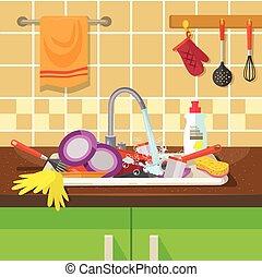 batería de cocina, fregadero, sucio
