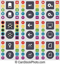 Batería, silueta, equipo, bola, flecha izquierda, monitor, símbolo de venus, gráfico, símbolo de icono. Un gran conjunto de botones planos y de colores para su diseño. Vector