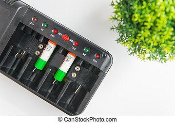 baterías, ecología, seguridad, plant., energía, espacio, vista, concepto, verde, eficiente, copia, cima, recargar