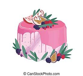 bayas, ilustración, acodado, boda, topping., adornado, postre, vector, aislado, glaze., rematado, plano de fondo, coloreado, cremoso, rosa, pastel, fruits, cumpleaños, festivo, blanco, drippy, espejo, o