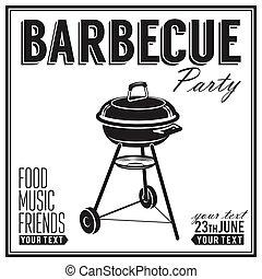 BBQ, afiche de diseño de parrillas, pancarta