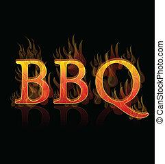 BBQ en antecedentes de icono palabra de fuego