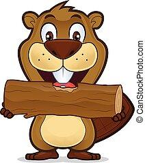 Beaver comiendo madera