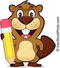 Beaver sosteniendo un lápiz