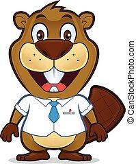 Beaver usando camisa y corbata