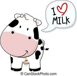 bebé, amor, leche, vaquita