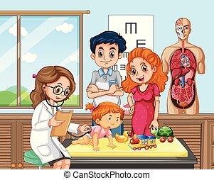 bebé, arriba, cheque, doctor