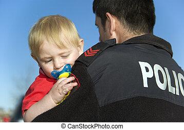 bebé, asideros, oficial de policía