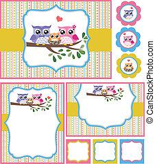 bebé, búho, ducha, tarjeta, ilustración