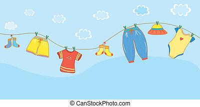 bebé, bandera, cielo, caricatura, ropa
