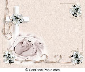 bebé, bautizo, invitación