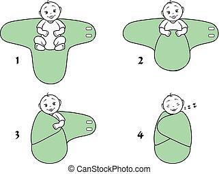 bebé, blanket., uso, swaddle, instrucciones