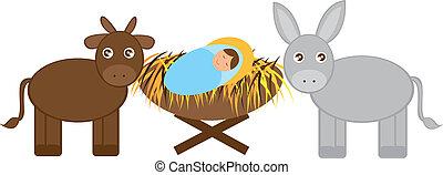 bebé, burro, buey, jesús