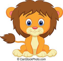 bebé, caricatura, león, sentado