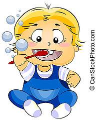 bebé, cepillar dientes