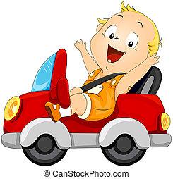 bebé, coche, conducción