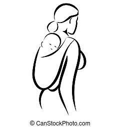 Bebé con mamá en cabestrillo