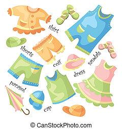 bebé, conjunto, ropa
