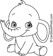 bebé, contorneado, elefante