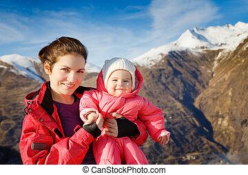 bebé, deporte, trajes, madre
