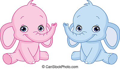 bebé, elefantes