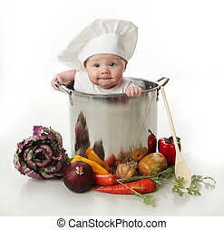 Bebé en una olla de cocina