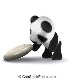 bebé, explora, panda, 3d