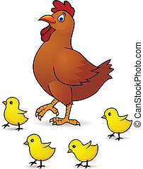 bebé, gallina, madre