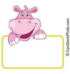 bebé, hippo., bandera, animal
