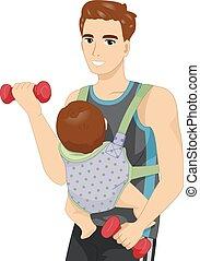bebé, hombre, trabajo, honda, afuera