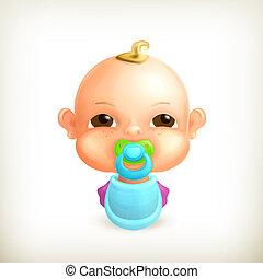 Bebé, icono del vector