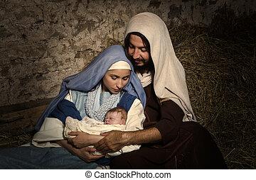 Bebé Jesús en la escena de la Navidad
