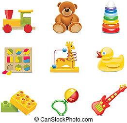 bebé juguete, icons., vector, juguetes