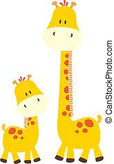 bebé, lindo, jirafas
