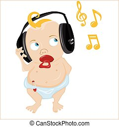 bebé, lindo, music., algunos, escuchar