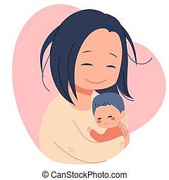 bebé, madre, recién nacido, tenencia