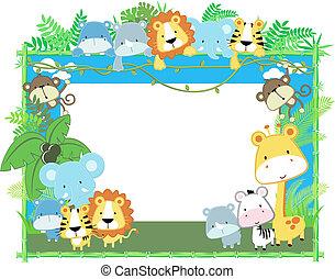 bebé, marco, vector, animales