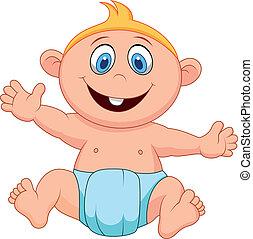 bebé, niño, caricatura