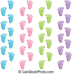 bebé, pasos de pie