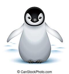 bebé, poco, pingüino emperador