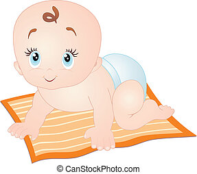 bebé que arrastra, blanco, aislado