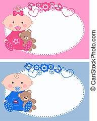 bebé recién nacido, tarjetas