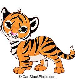bebé, tigre, ambulante