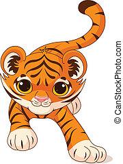 bebé, tigre, se agachar