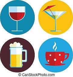 Beber iconos con diferentes bebidas