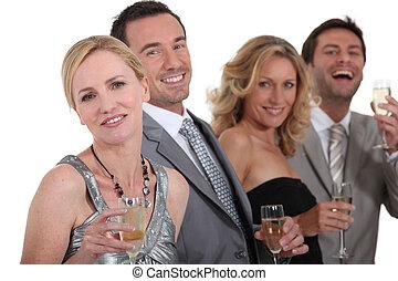 bebida, champaña, gente